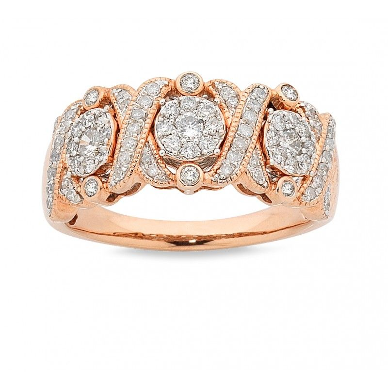 9ct Rose Gold Antique Look 0.75ct Diamond Ring. Available in stores or online - 94A9039