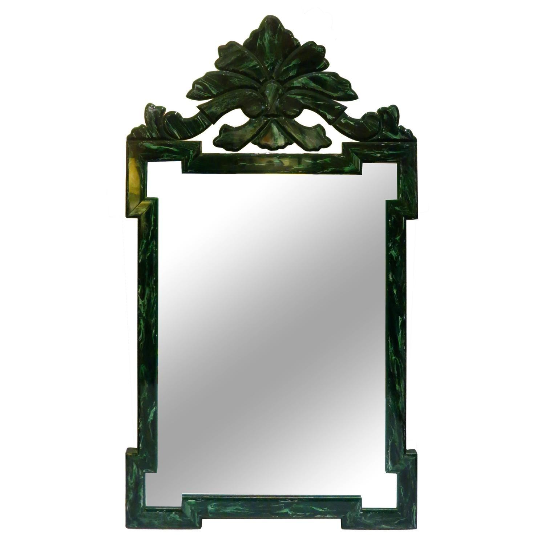 Striking Large Hollywood Regency Mirror in a Green Malachite Finish
