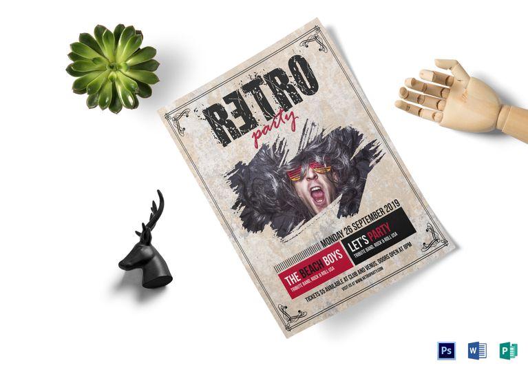 Retro Style Concert Flyer Template Design Flyer Templates - retro flyer templates