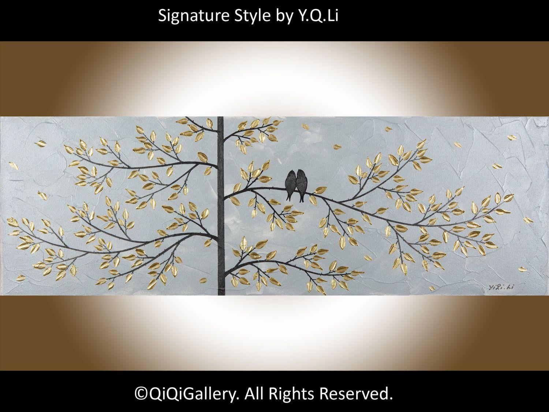 Abstract painting wall art wall decor decorative art Metallic silver  palette knife Tree Love Birds Wedding