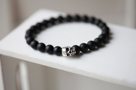 Mens Skull Bracelet Black Onyx By Bijjou 20 00