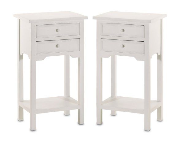 Set Of 2 Wood White End Tables Nightstands With Two