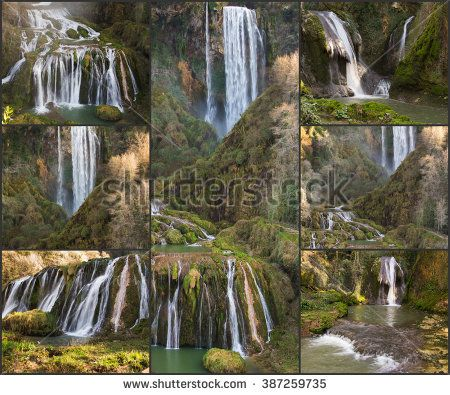 Collage with Marmore waterfall (Cascata delle Marmore) photos.