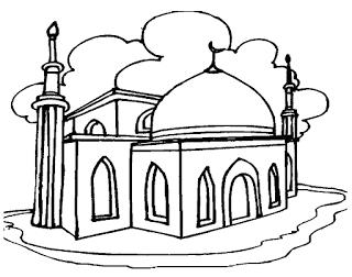 Gambar Mewarnai Gambar Gambar Mewarnai Masjid Untuk Anak