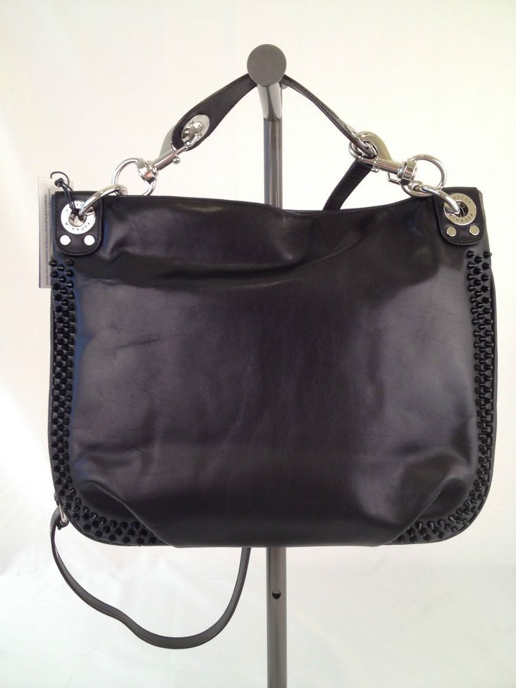 Nwt Rebecca Minkoff Mini Luscious Hobo Bag Black Leather Enamel Studded Handbag Rebeccaminkoff