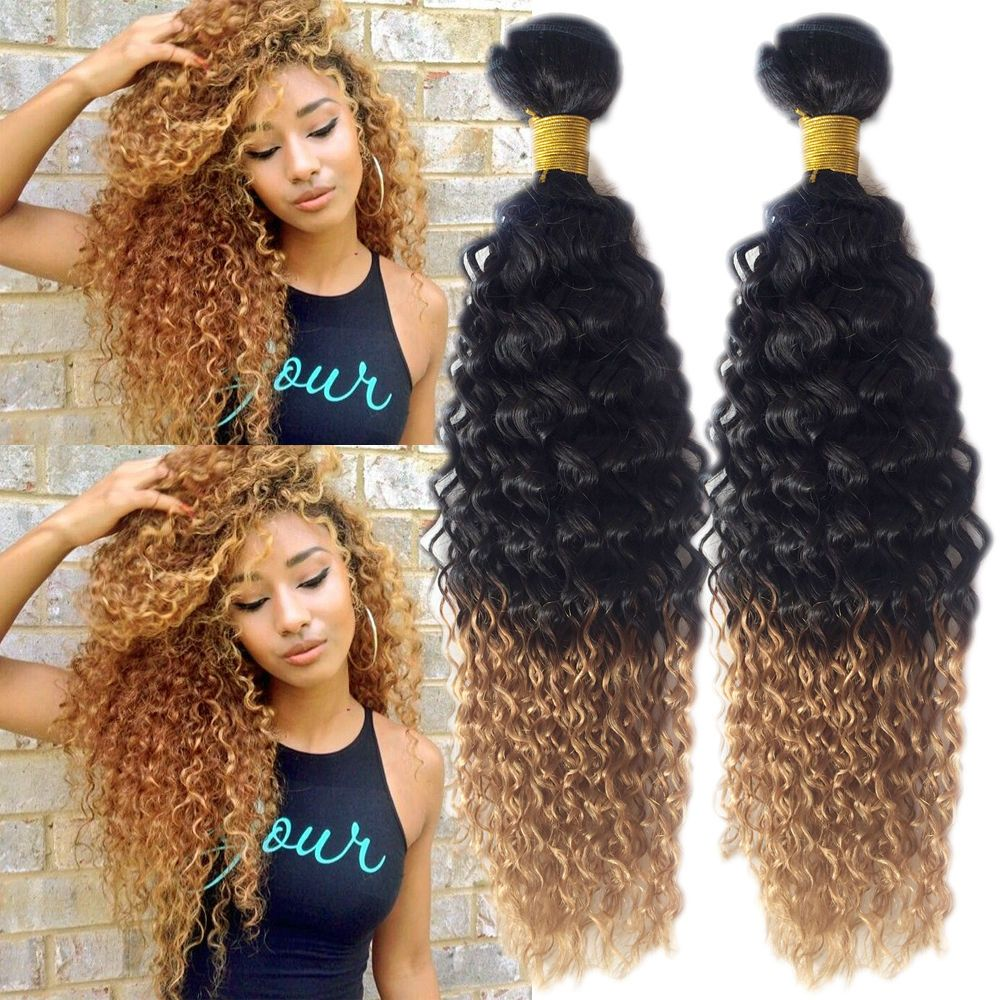 1b27 2 Tone Ombre Cut Curls Human Hair Extension Afro Curly Wave