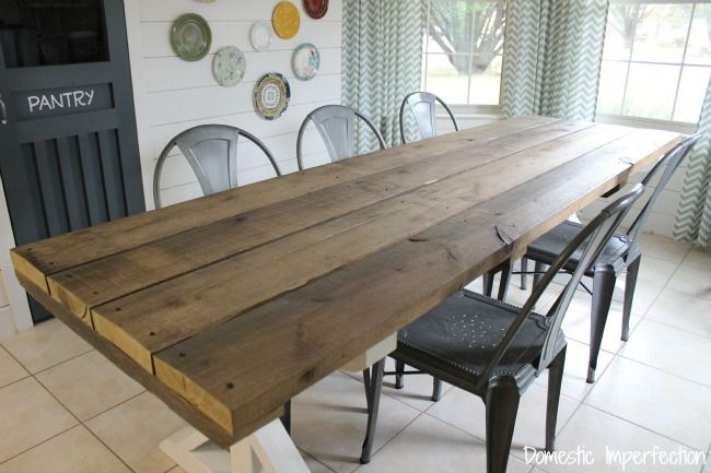Picnic Style Dining Table Made From Rustic Wood Love The Antique Square Nails