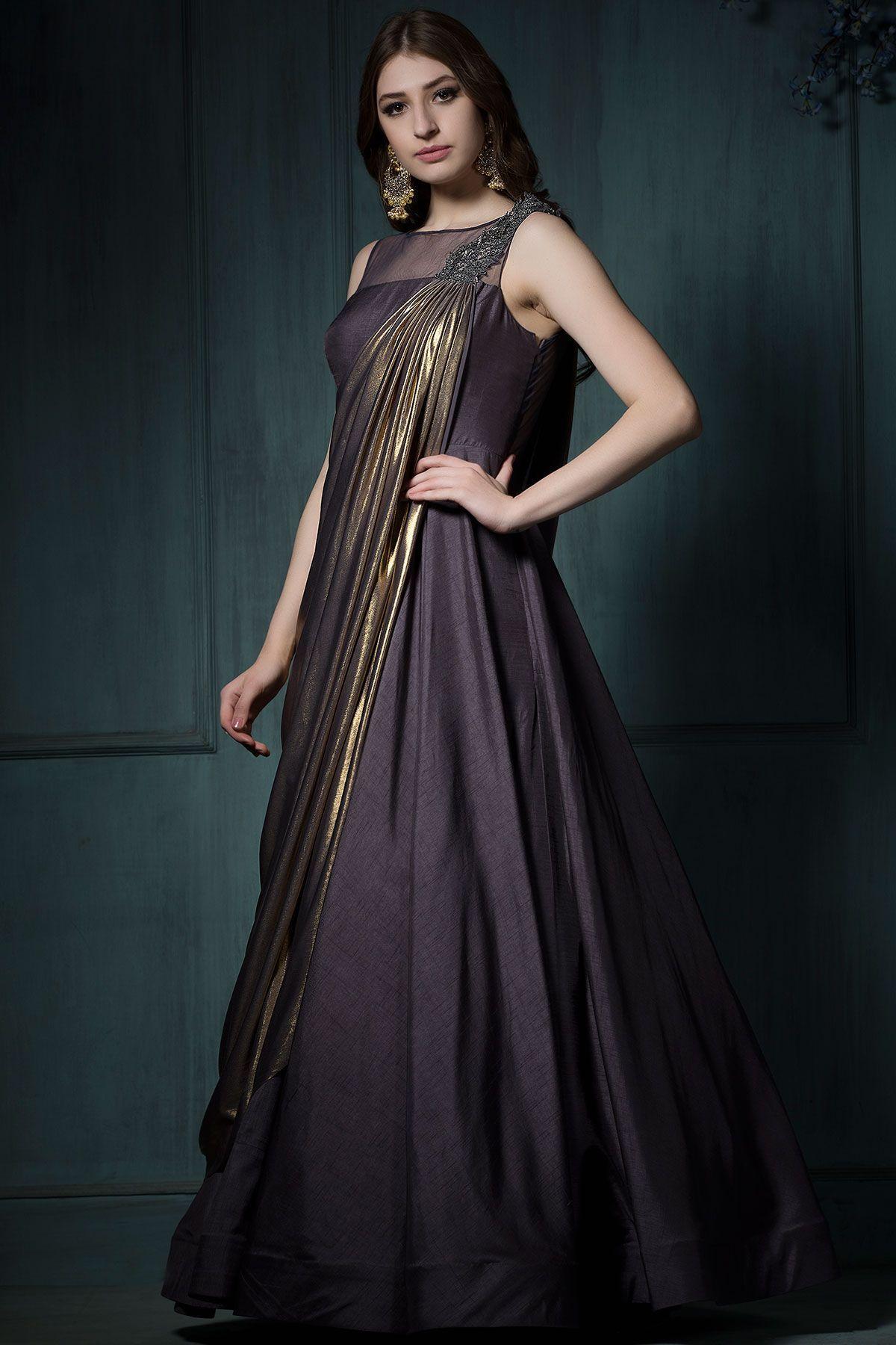 3cde45c22b Buy Grey Silk Zardosi Embroidered Draped Gown Online