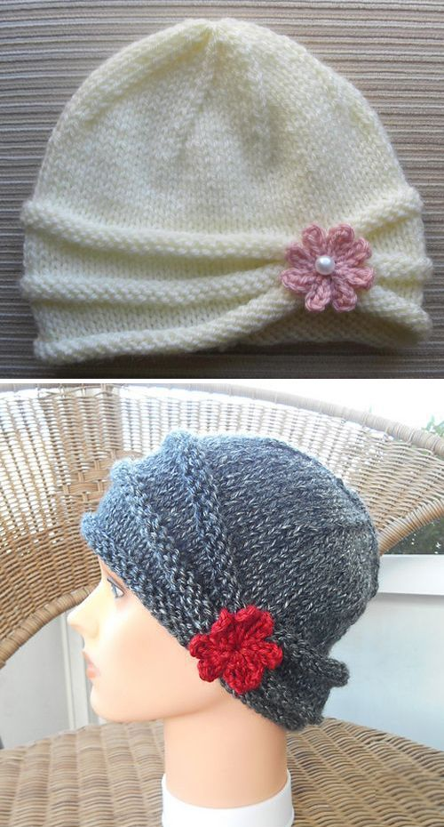 Rolled Brim Hat For A Girl Knitting Pattern In 2020 Womens Knitting Patterns Knitted Hats Girls Knit Hat