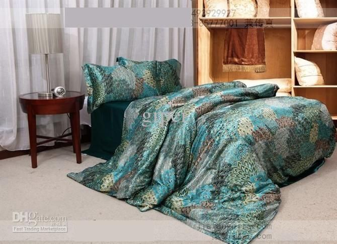 Wholesale Bed Linen Buy Blue Green Peacock Tail Natural Mulberry