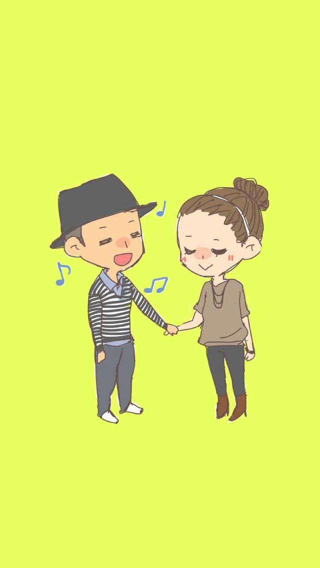 Cute & lovely couple sharing Korean Cartoon Running Man