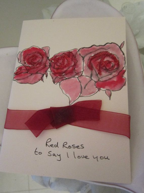 Red Roses Valentine S Day Card Watercolour By Angelatmyeasel With