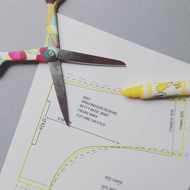 Tip: when there's lots of lines to follow on your pattern - mark out the one you're going to be cutting.  To make life easier all the patterns from our website can be printed straight out onto A4 with not a piece of tale needed to assemble them. And the best bit is if you make a mistake just re-print it. #digitalpatterns #vanjonssondesign #htbald #lingeriedesigning #indiedesigner #lingeriepatterns #sewyourown