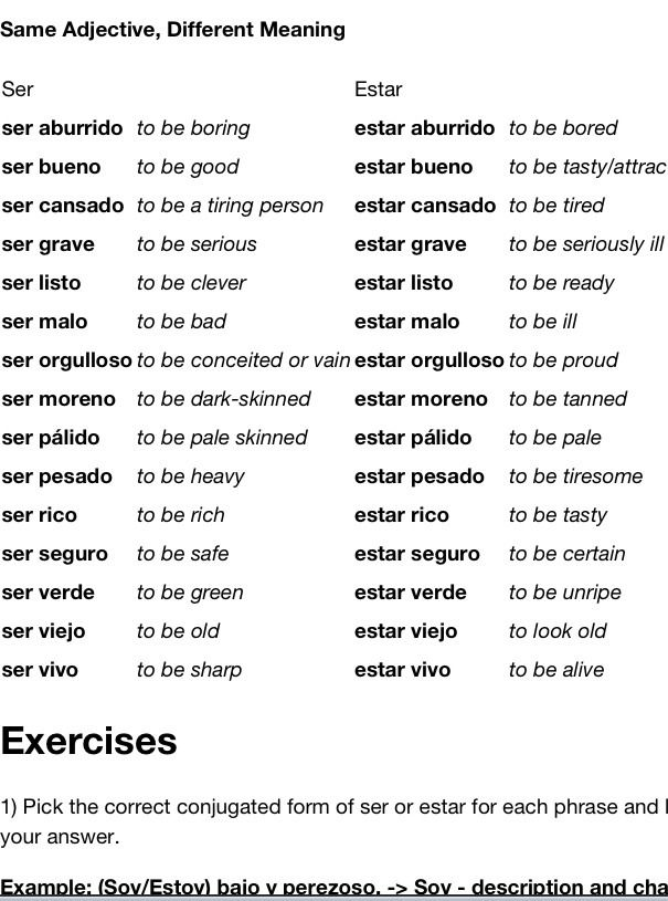 The Average Hombre - A Spanish Learning Blog — Using some adjectives with ser and estar can... #learningspanish