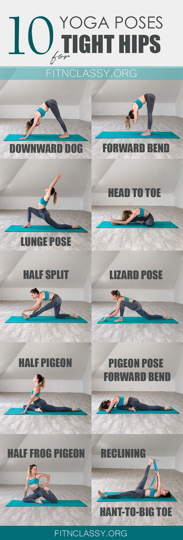 10 yoga poses for tight hips and hamstrings. Great stretching for splits, excellent for runners, athletes and those of you who sit at the desk for most of the day. #yoga #splits #stretching #yogaforhips #hipsandhamstrings #yogaforlegs #flexibility #yogaposes