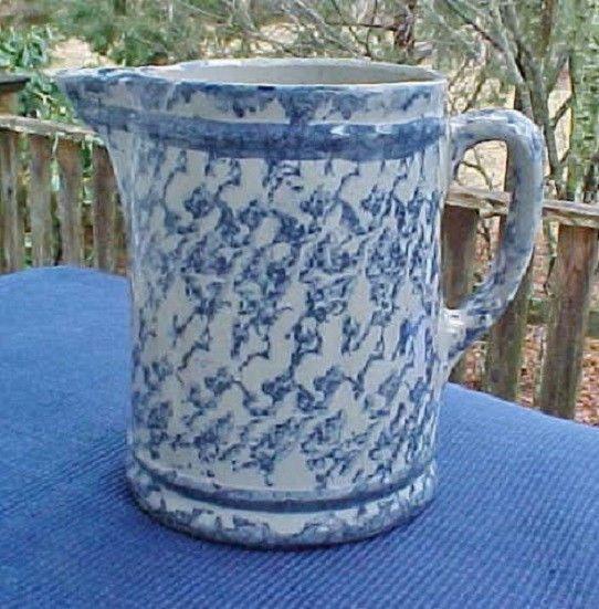 ANTIQUE BLUE & WHITE SPONGEWARE STONEWARE PITCHER w/ TWO STRIPES