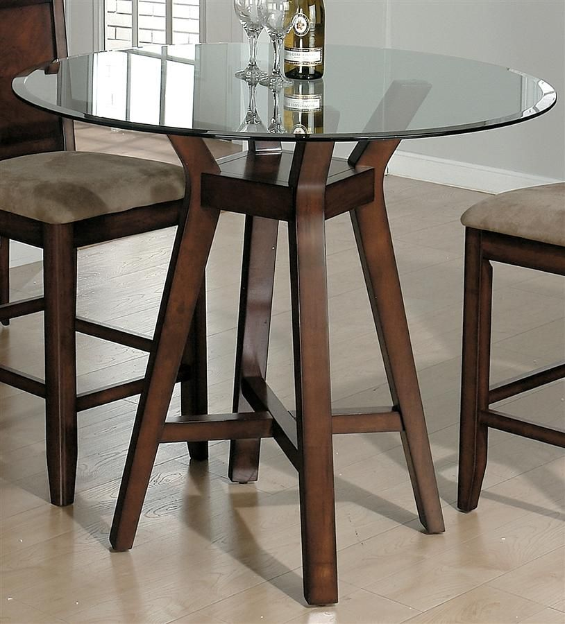 Carlsbad Round Glass Top Dining Table w Pedestal Base in