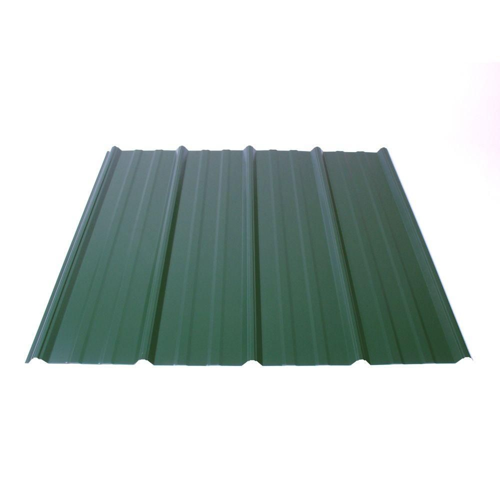 Fabral Shelterguard 12 Ft Exposed Fastener Galvanized Steel Roof Panel In Evergreen 0410117176 The Home Depot Corrugated Metal Roof Corrugated Metal Roofing Sheets Steel Roof Panels