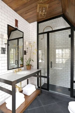 Kind Of Rustic Industrial Bathroom. Subway Tile, And Slate Tile Floor. Wood  Ceiling Part 47