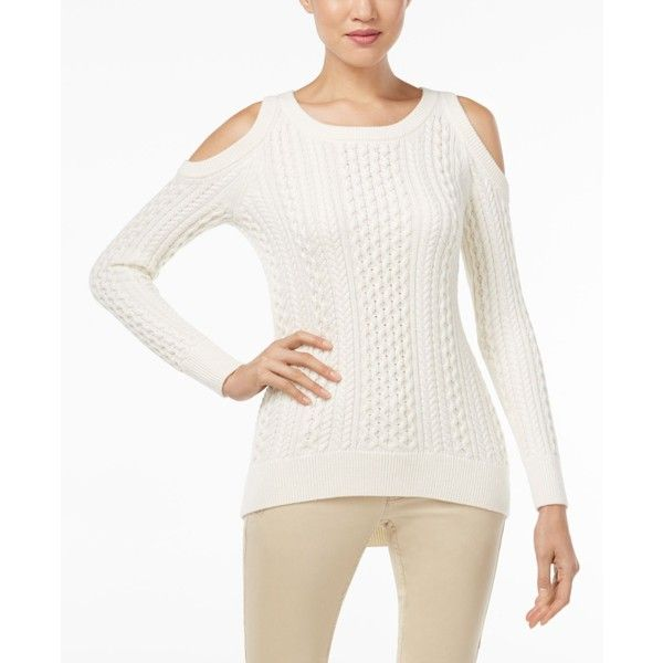 8d5b2108f82411 Michael Michael Kors Cold-Shoulder Cable-Knit Sweater ( 71) ❤ liked on Polyvore  featuring tops