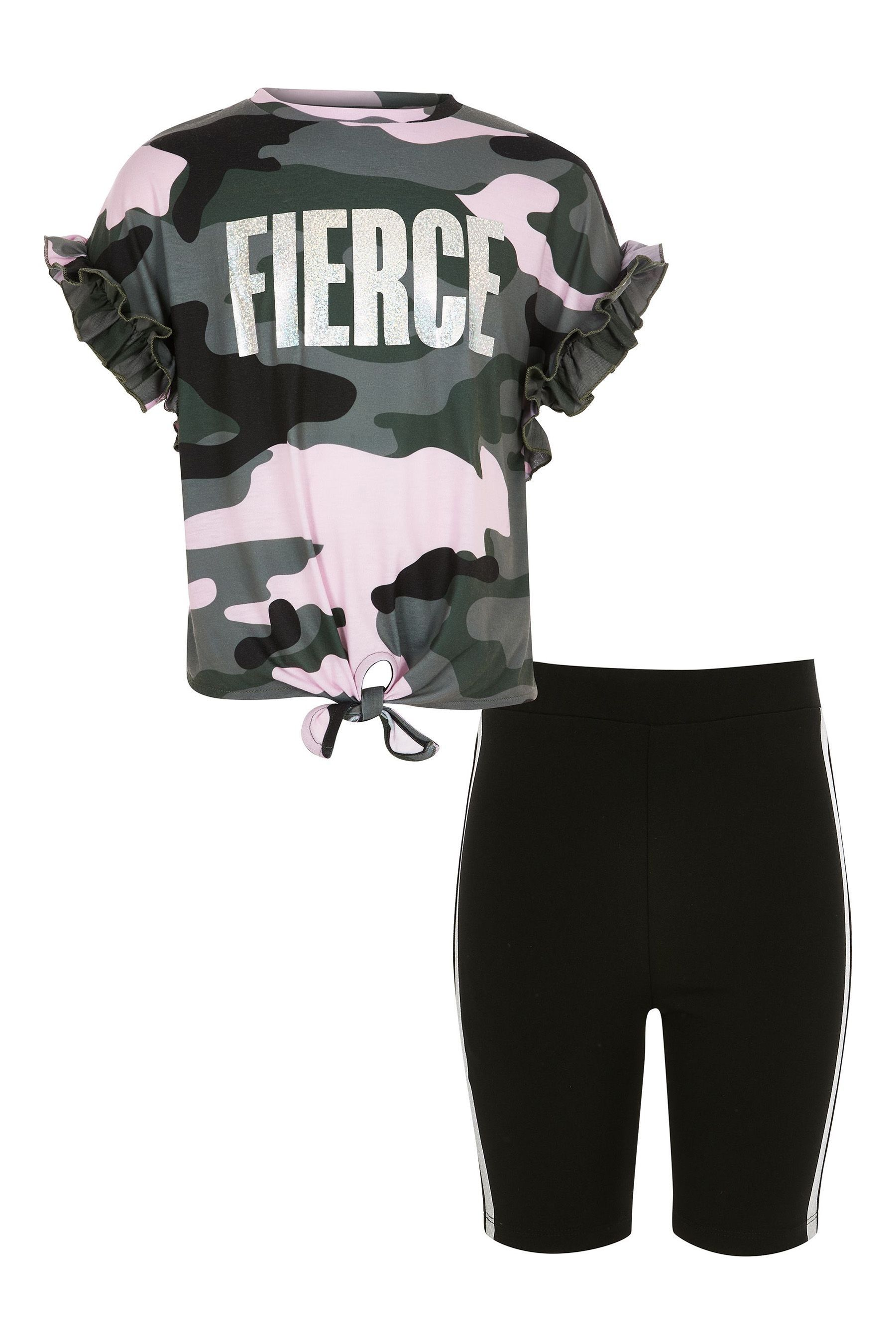 f4f8e369e04ae Girls River Island Camo Print Tee And Cycle Short Set - Green ...