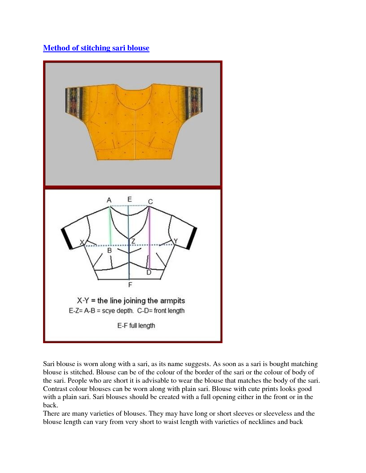 Saree blouse instructions | FREE sewing patterns | Pinterest ...