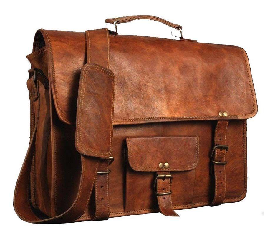 Men/'s Messenger Genuine Vintage Leather  Shoulder Laptop office Bag briefcase