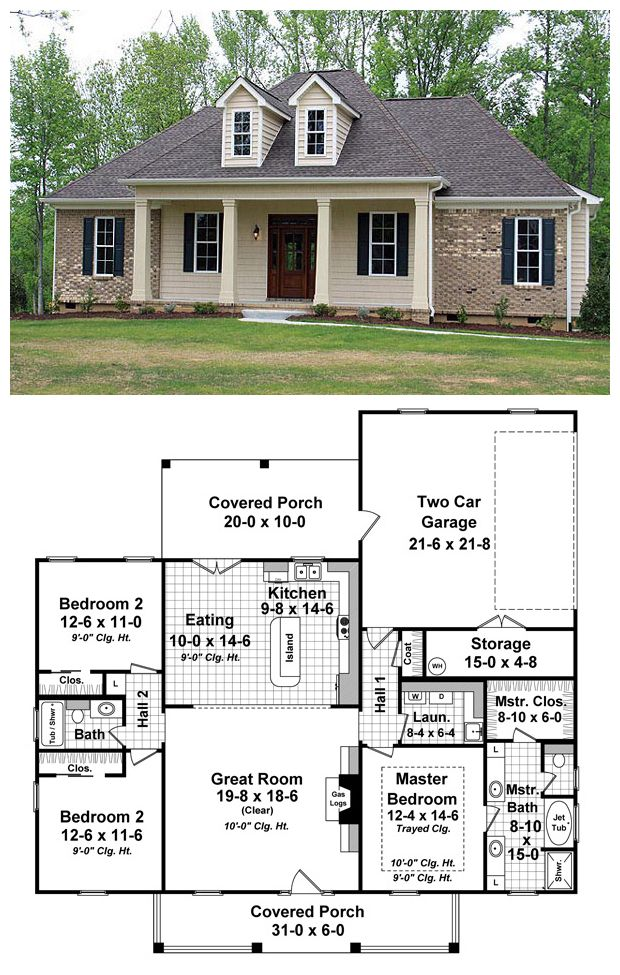 French Country Style House Plan 59937 With 3 Bed 2 Bath 2 Car Garage Country Style House Plans House Floor Plans House Plans