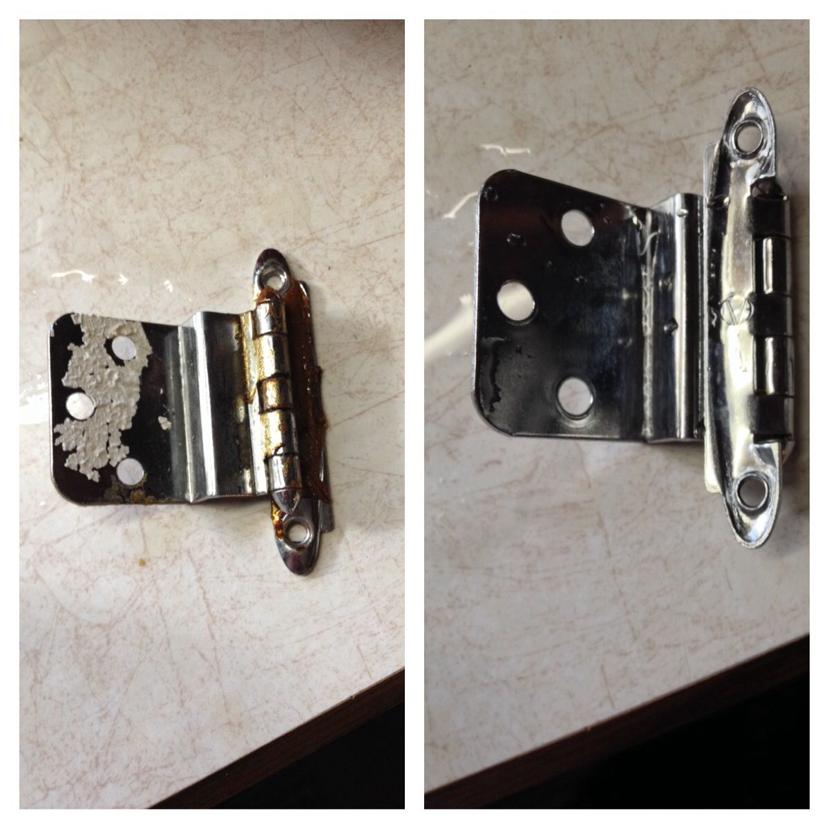 Old kitchen cabinet hinges - Cleaning Old Cabinet Hardware The Easy Way Place Hinges Hardware Etc In