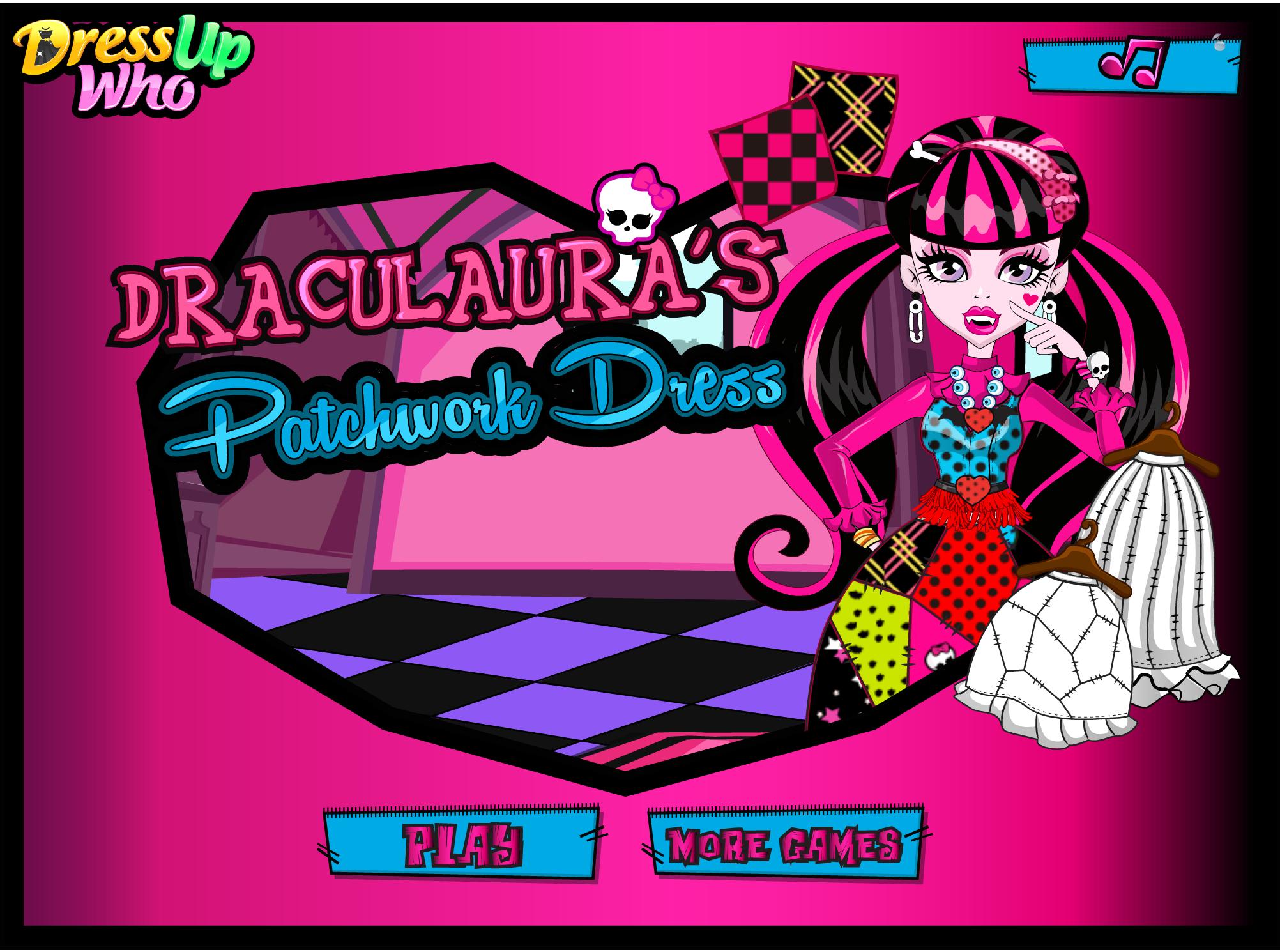 Draculaura S Patchwork Dress Dress Up Who Patchwork Dress Fashion Designer Game Monster High Dolls