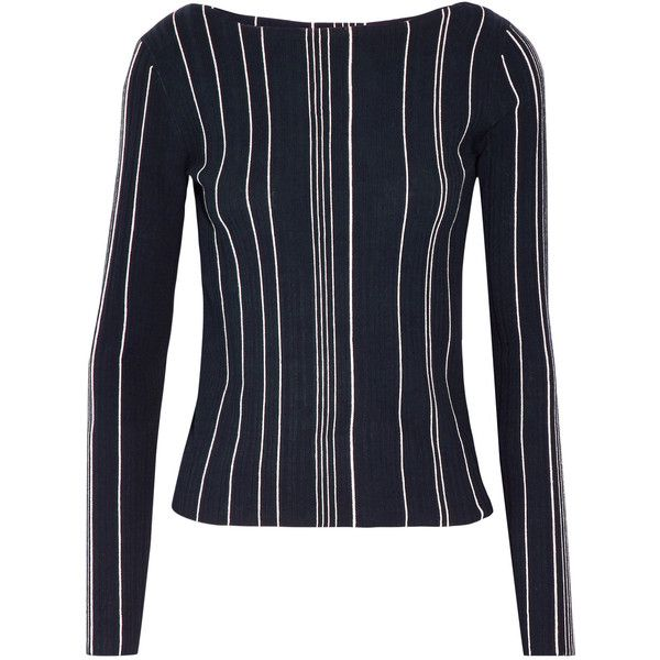 Theory Striped ribbed stretch-knit top ($355) ❤ liked on Polyvore featuring tops, midnight blue, ribbed top, rib top, striped top, theory tops and stripe top