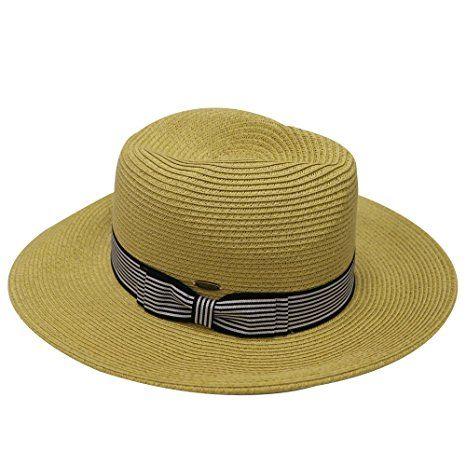 b75e944b3da Unisex Cc St111 Upf50+ Protect Wide Brim Straw Sun Hat 2 Colors (Pms560  Natural) at Amazon Women s Clothing store