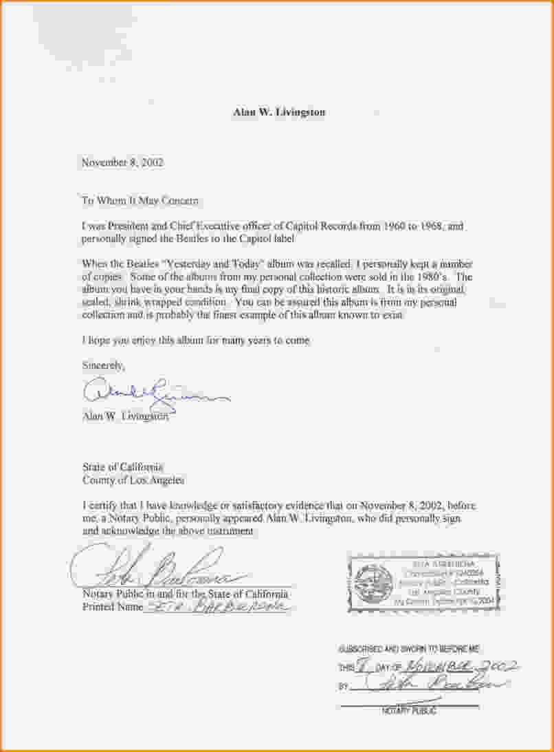 Notarized Letter | Notarized Letter The Letter Needs To Include Your Complete Name
