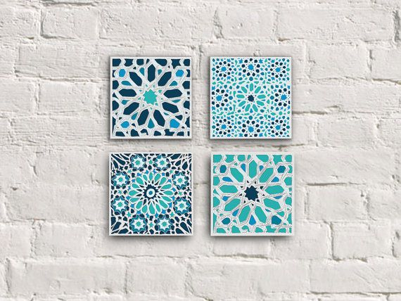 Moroccan Tiles Canvas Set Moroccan Mosaic Set Moroccan Wall Etsy Canvas Art Wall Decor Moroccan Wall Art Mosaic Patterns