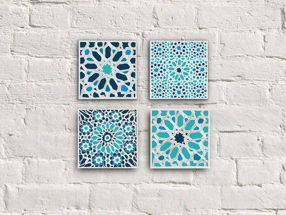 Moroccan Tiles Canvas Set Moroccan Mosaic Set Moroccan Wall Decor Moroccan Ornaments Home Decor Bathroom Decor Housewarming Gift 8x8