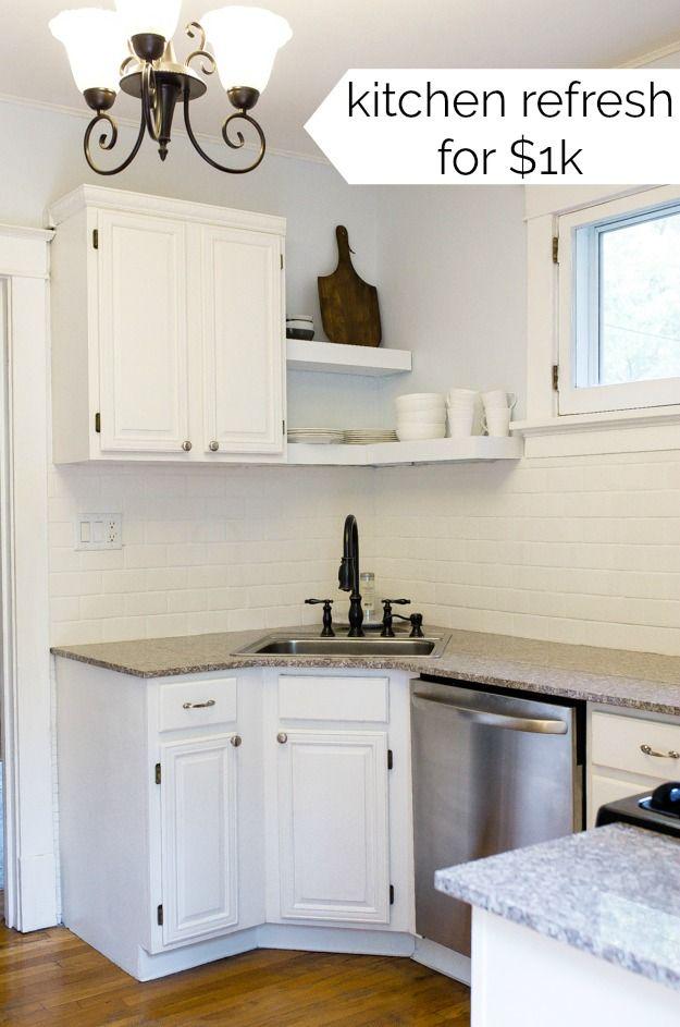 My Small Kitchen Ideas A Cheap Kitchen Refresh Budget Kitchen Reno All White Kitch Cheap Kitchen Cabinets White Modern Kitchen Modern White Kitchen Cabinets