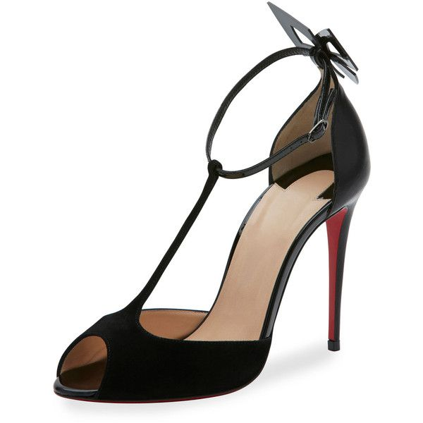 Christian Louboutin Aribak T-Strap 100mm Red Sole Pump (€830) ❤ liked on Polyvore featuring shoes, pumps, black, black ankle strap pumps, christian louboutin pumps, black pumps, black leather shoes and black d orsay pumps