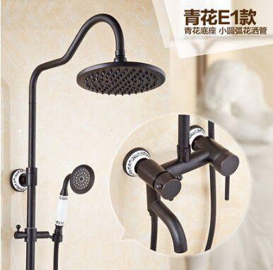 Black Antique Brass Wall Mounted Mixer Valve Rainfall Shower Faucet Complete Sets Pink Shower Faucet Faucet Rainfall Shower