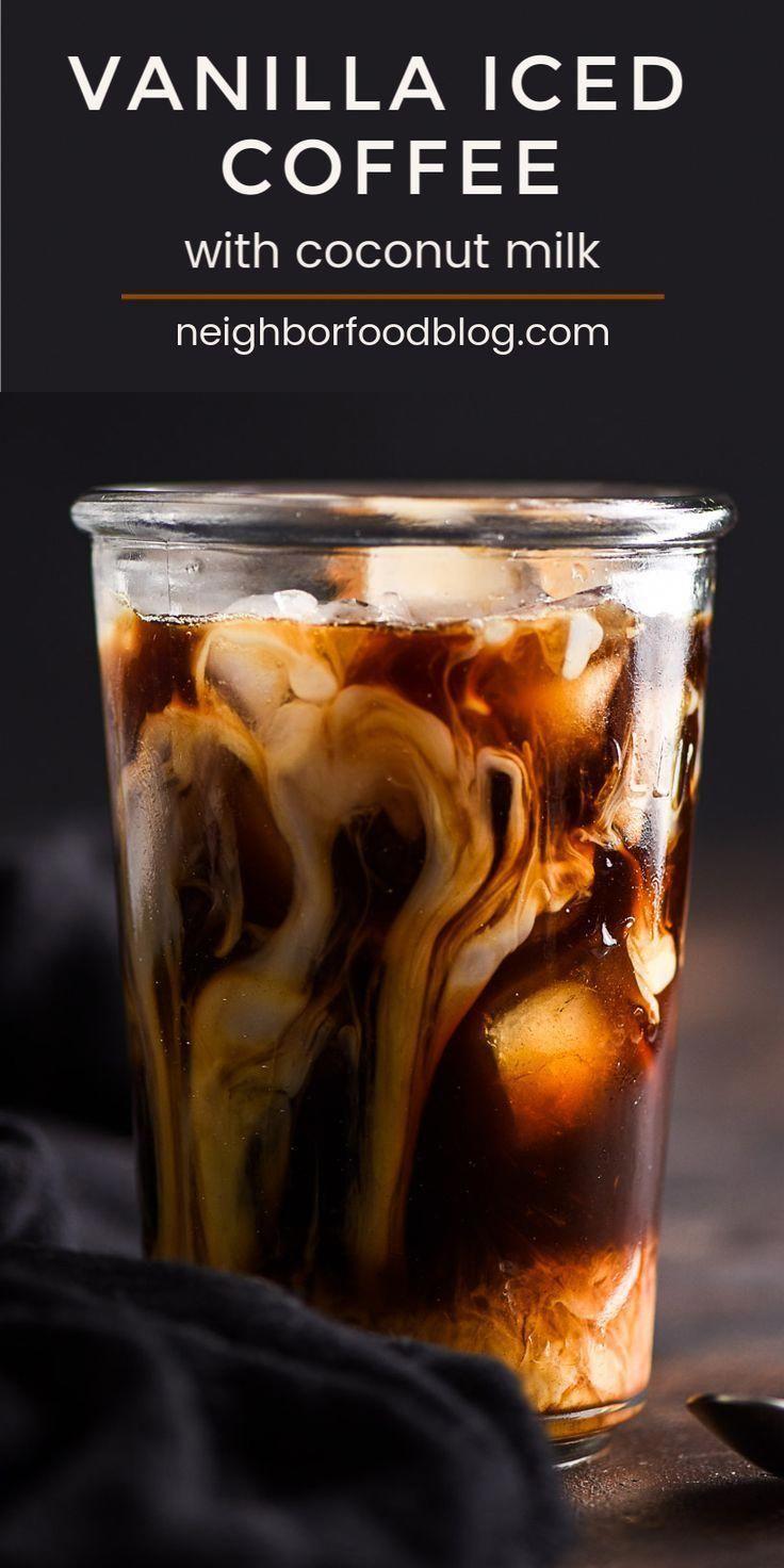 Homemade vanilla iced coffee with coconut milk is sweet