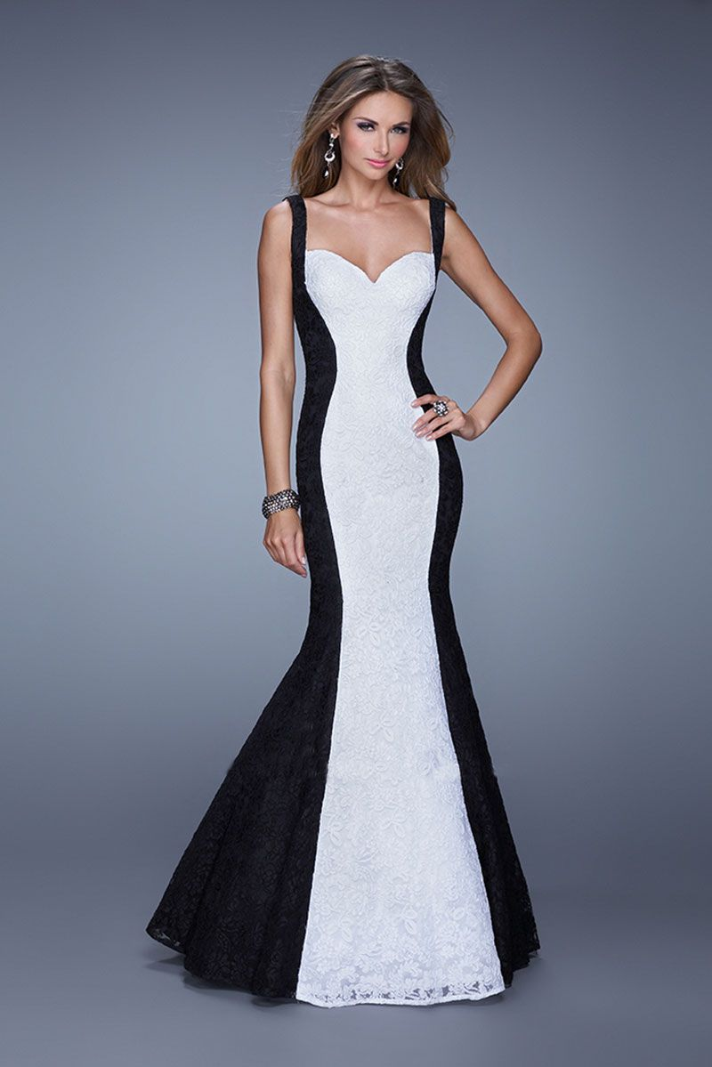 Floor length fishtail lace gown with sweetheart neckline