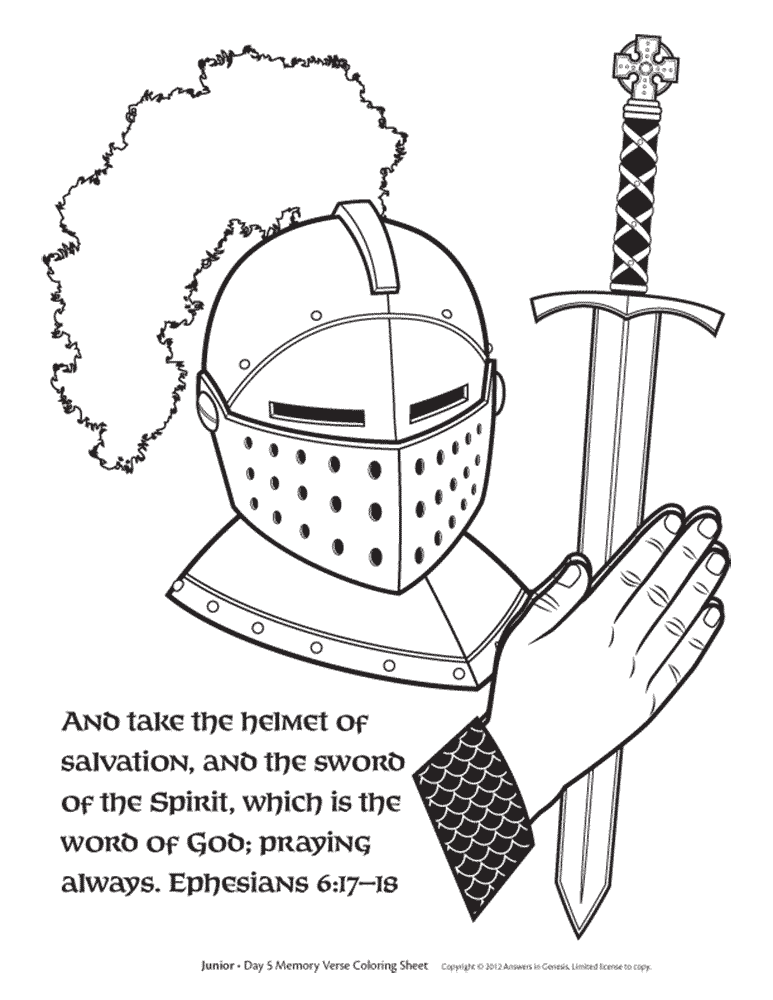 FREE Sword of the spirit and Helmet of salvation Coloring