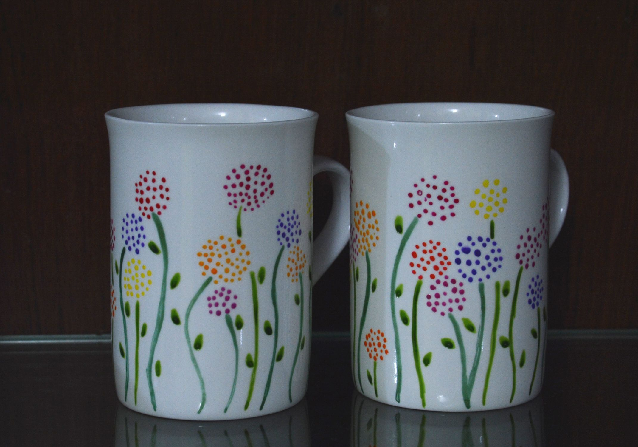 Flower Patterned Milk Mugs Handpainted Ceramic Pottery