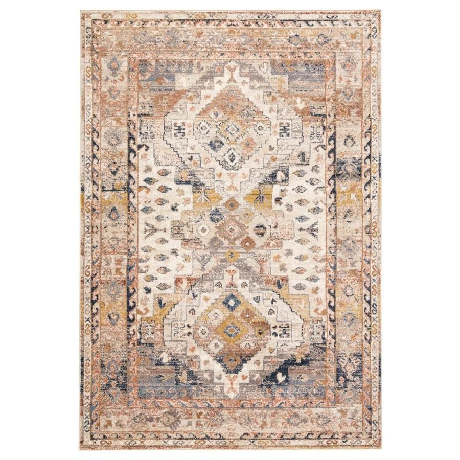 Natalya Multicolor Beige Indoor Oriental Area Rug Common 8 X 10 Actual 7 83 Ft W X 9 83 Ft L Lowes Com In 2020 Geometric Pattern Rug Beige Area Rugs Area Rugs