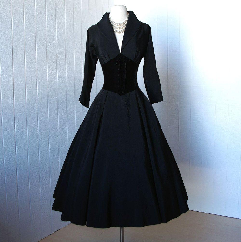 vintage 1950's dress ...dior inspired new look designer SUZY ...