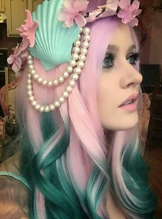Pink green ombre dyed hair color @davedscissorhands