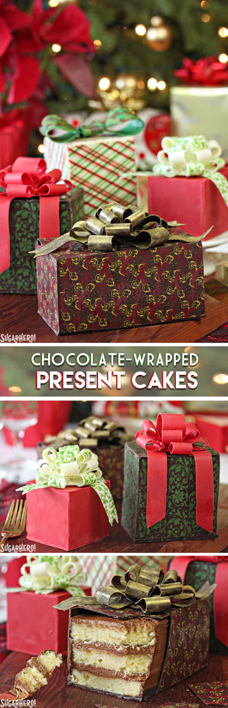 Chocolate-Wrapped Present Cakes - layered mini cakes entirely covered with edible chocolate wrapping paper and chocolate bows! | From SugarHero.com