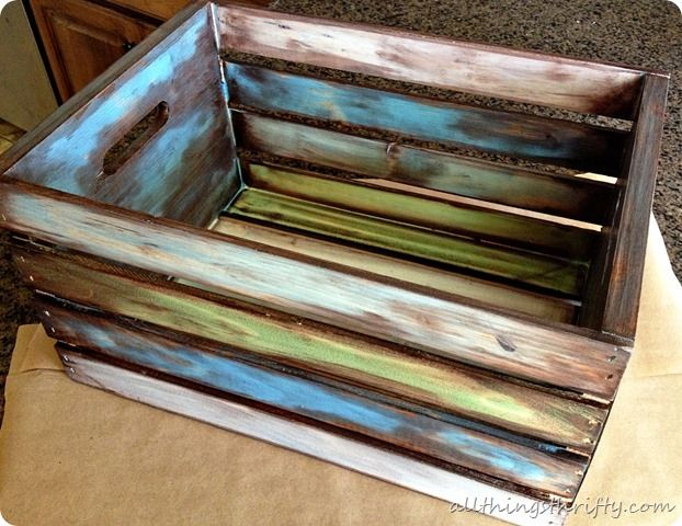 How to antique wood with paint and stain antique wood for Painted crate ideas