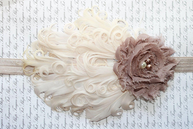 Silver Chiffon Rose Flower Headband Photo Prop