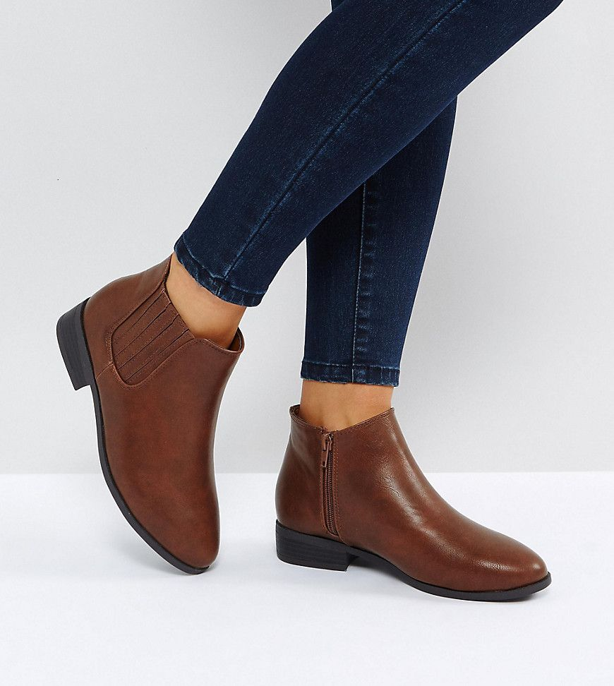 New Look Wide Fit Leather Look Ankle Boot   Boots, Vegan