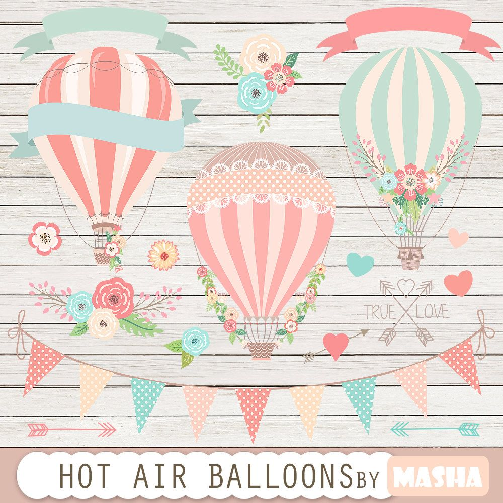 Hot air balloons clip art: Hot Air Balloon Clipart | Etsy